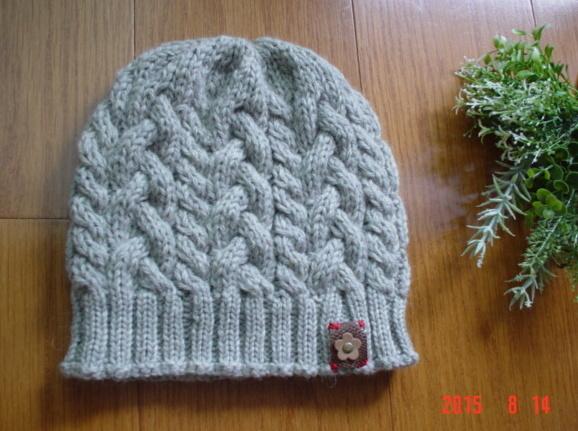 ☆彡ケーブルとバスケット柄のアラン模様の帽子(ライトグレー))