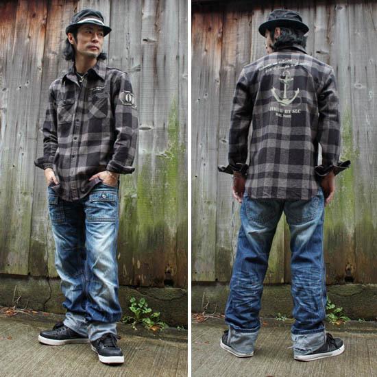【JIKUU】 メンズヘビーフランネルチェックシャツ『アンカー』ブラック