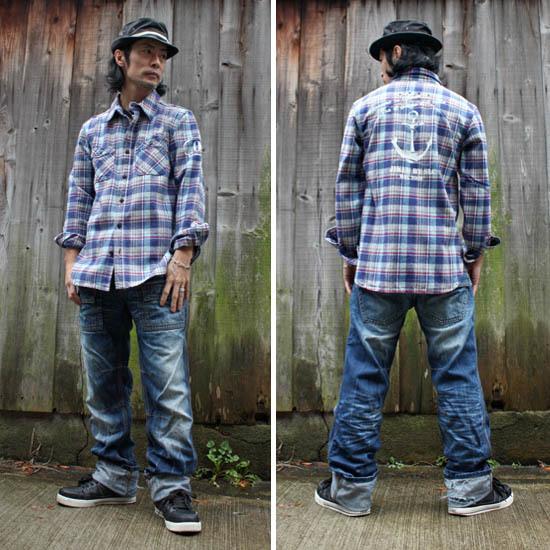 <セール特価!40%OFF>【JIKUU】 メンズヘビーフランネルチェックシャツ『アンカー』ブルー