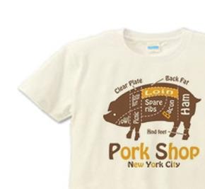 ポーク XS(女性XS〜S) Tシャツ 【受注生産品】