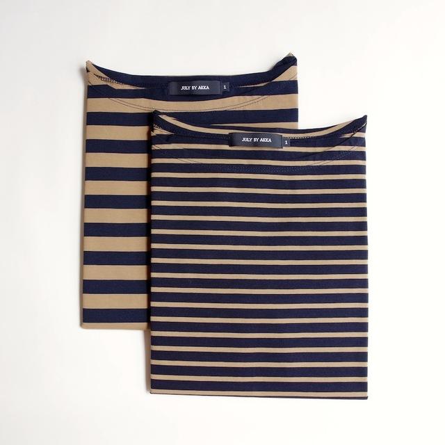 <再入荷>ボーダーバスクシャツ ( camel × navy )