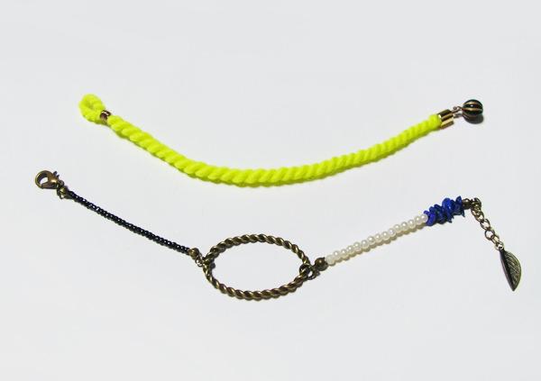 (再販)羊毛とメタルリングのブレス【set】