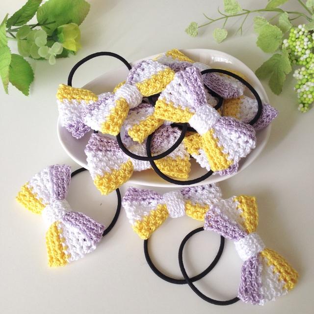 【オーダー品】手編み3色リボンのヘアゴムセット
