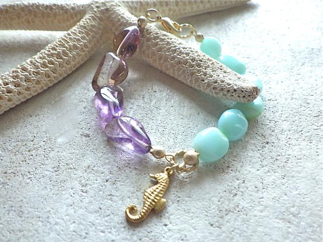 Ocean Sunset Bracelet  オパール&アメトリン&タツノオトシゴ