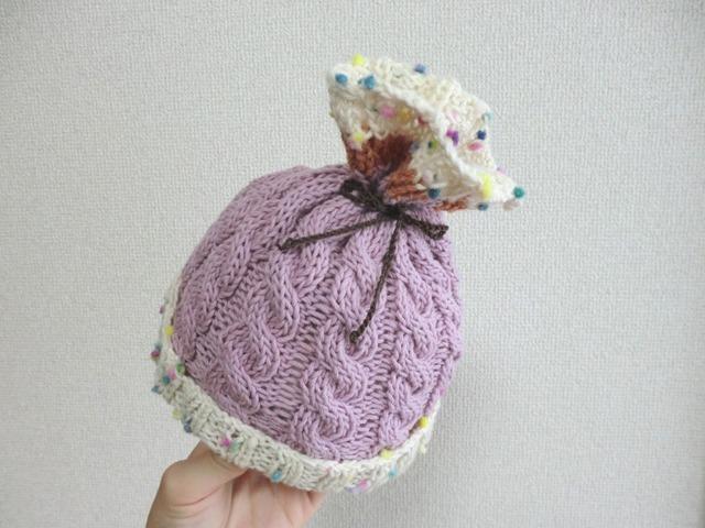 巾着風♪ 赤ちゃんニット帽子 42cm ピンク