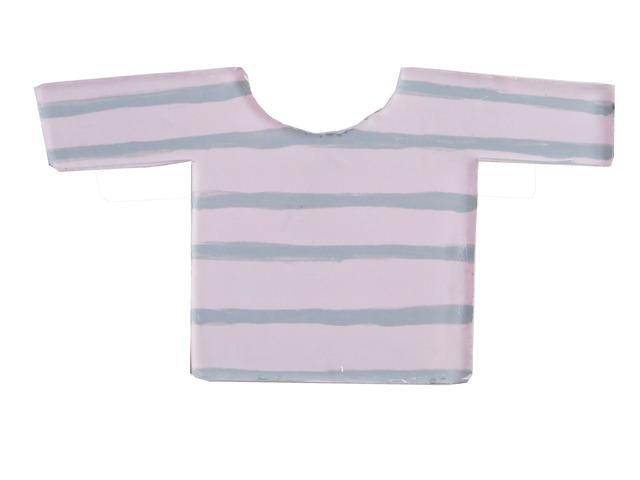 ピンクボーダーシャツブローチ