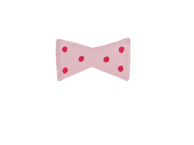 ピンクドットのリボン ブローチ