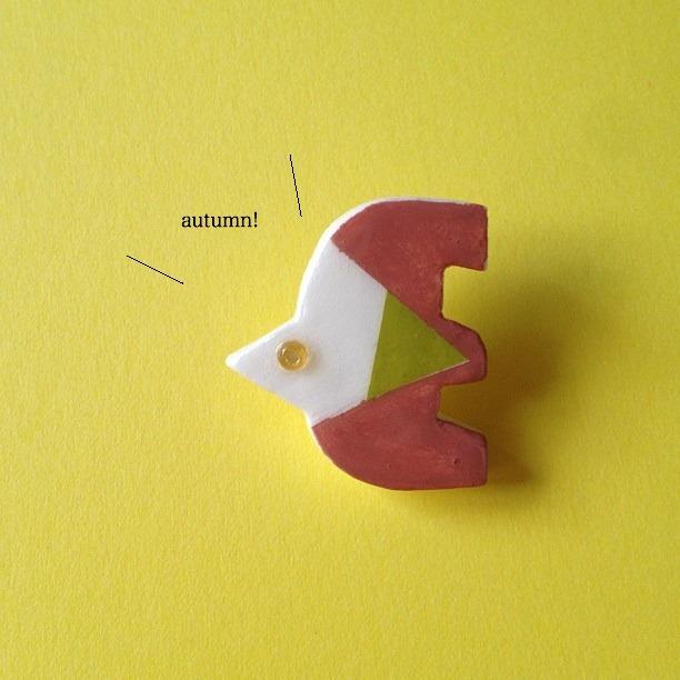 10月の鳥ブローチ(あずき)