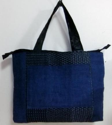 藍と男絣のパッチワークの手提げ袋 468