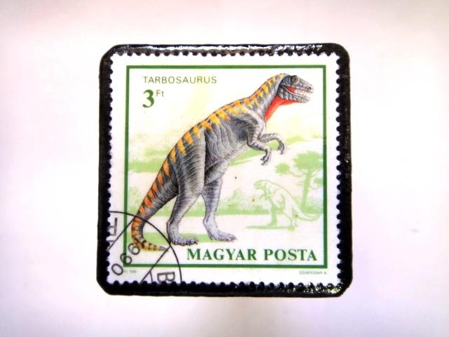 ハンガリー 恐竜切手ブローチ 025