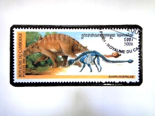 カンボジア 恐竜切手ブローチ 033