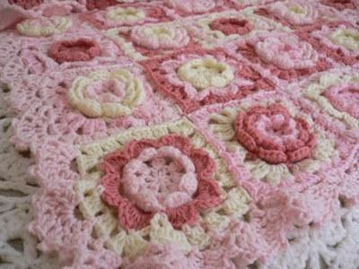 【編み図】お花モチーフいっぱいのブランケット