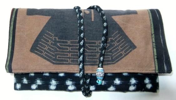 半纏柄と雪ん子絣で作った和風財布 478