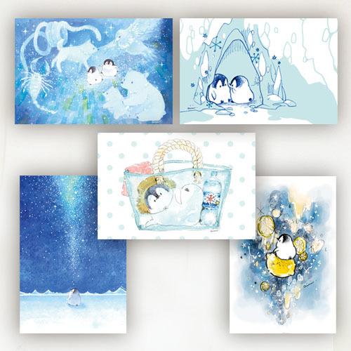 ポストカード5枚セット ブルー(もこぺん)