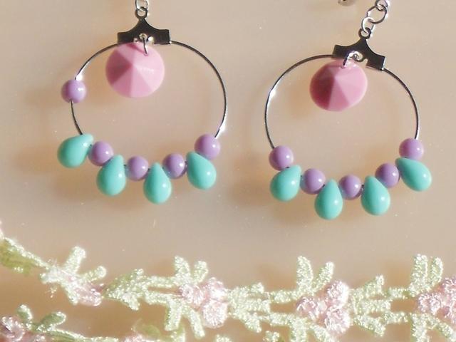Pastelcolor*hoop◇イヤリング*blue&pink*