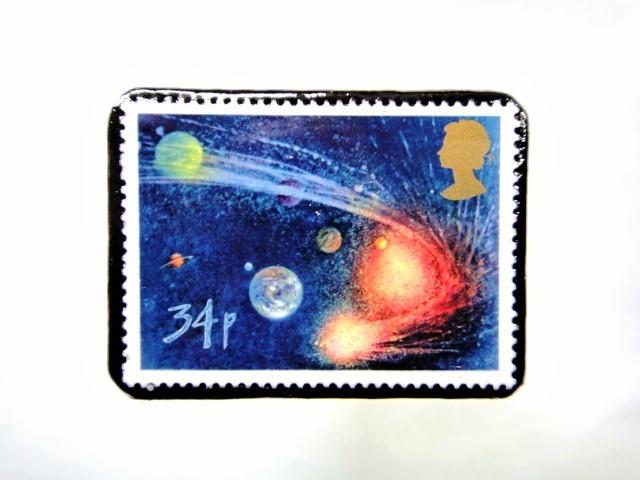 ギリス ハレー彗星切手ブローチ 036