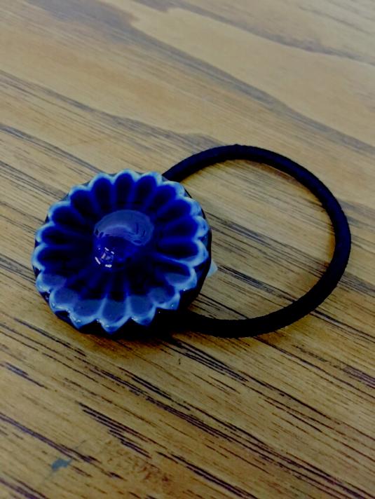 陶製 ヘアゴム  ブルー