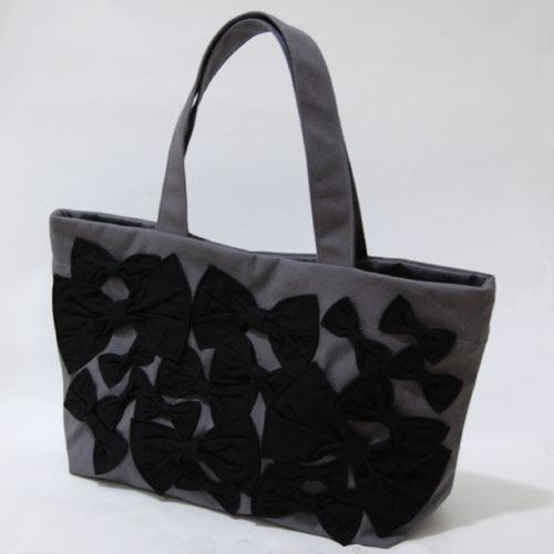aigis リボントートバック(灰×黒)