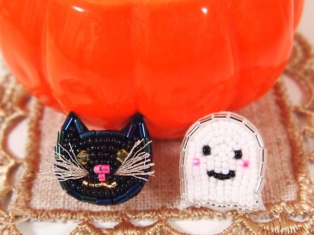 ハロウィン 黒猫とおばけ