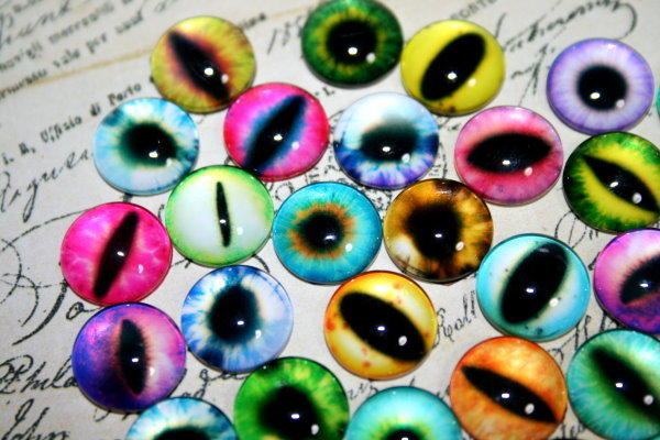 12mm猫の目・動物の目/カボション 16個