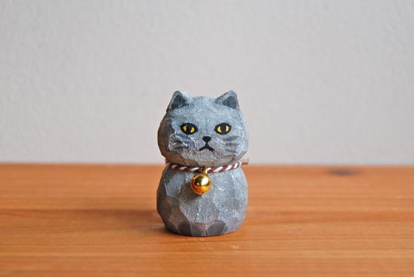 木彫り人形 ねこ グレー  [MWF-028]