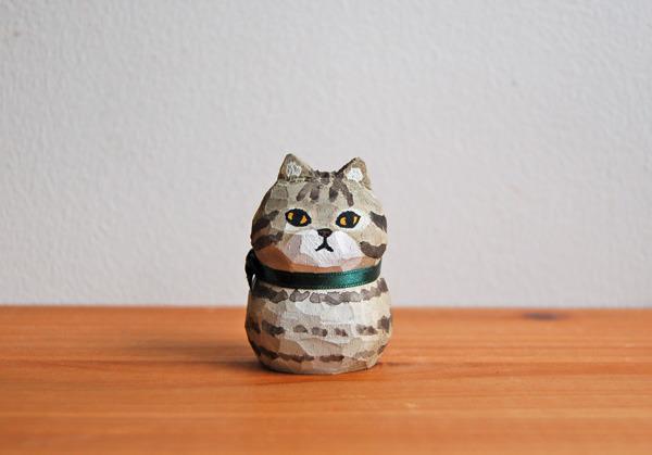 木彫り人形 キジトラねこ  [MWF-029]