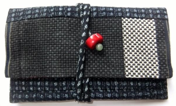 男絣と消防服で作った和風財布 489