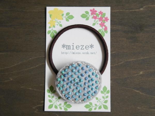 #T02 つぶつぶ刺繍のヘアゴム