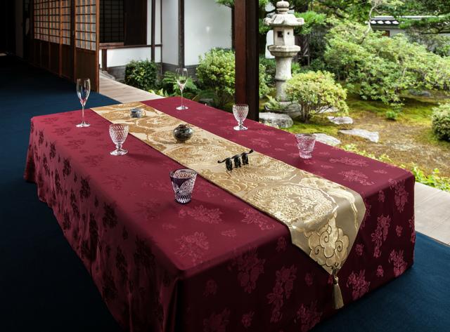 西陣金襴正絹 散雲丸龍テーブルランナー 白茶地