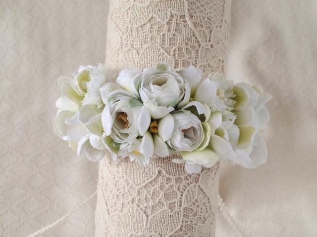 染め花のリストレット(S・ホワイト&グリーン)