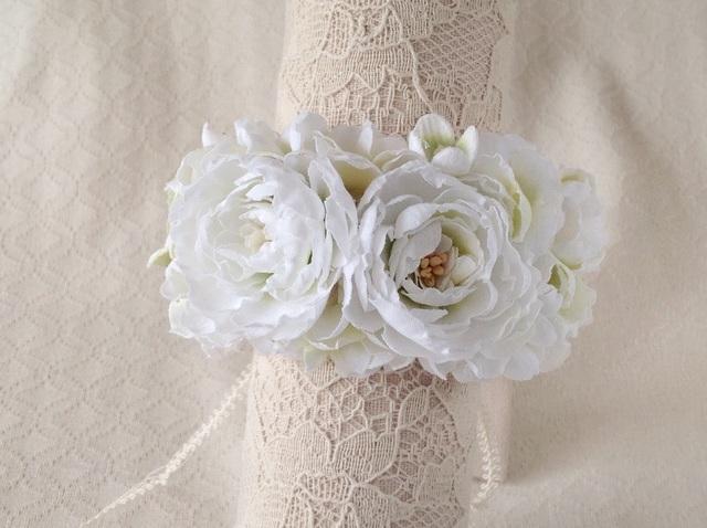 染め花のリストレット(M・ホワイト&グリーン)