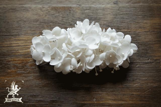 barrette  【 ちいさな紫陽花とチュールのバレッタ * white  】