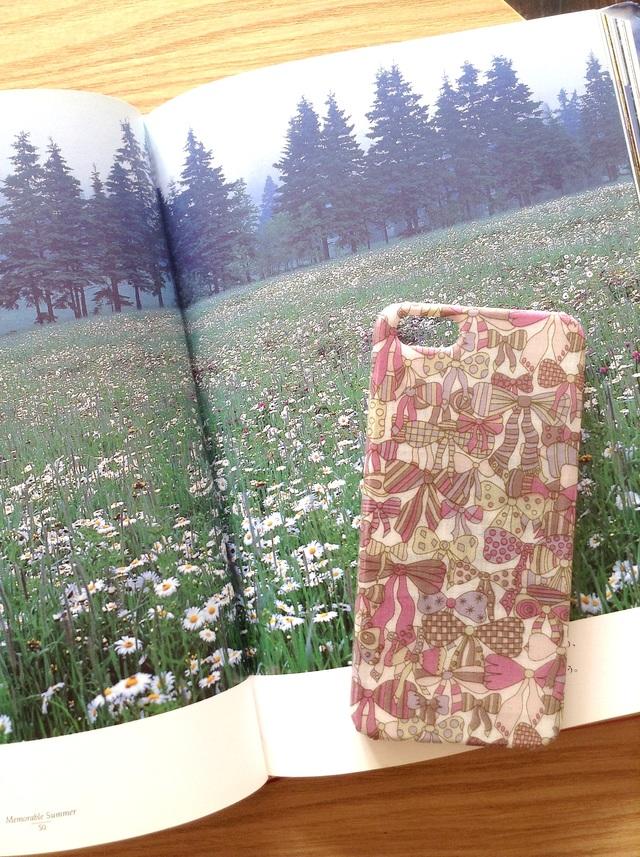 リバティ布張り iphoneSE  iphone5/5sケース ジェイニーズリボン