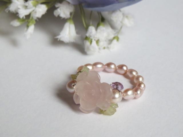ローズクォーツ薔薇のリング