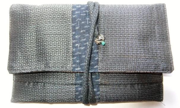 藍大島と麻の上布で作った和風財布 494