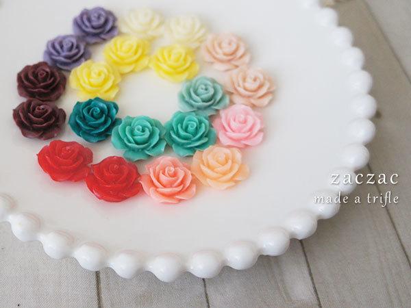 【販売終了】お花カボション20個*薔薇
