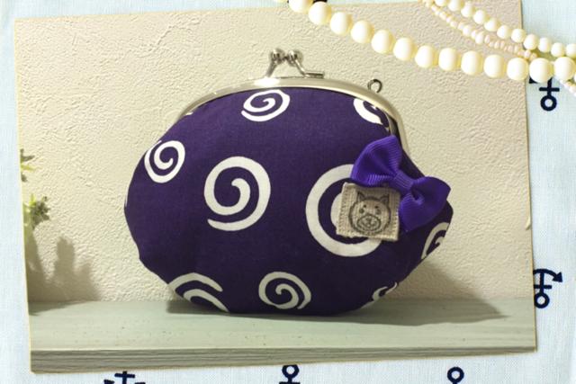 柴ちゃんうずまきがま口  紫