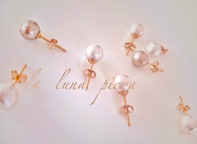 ◇K14GF◇ 秋色cotton pearl ピアス