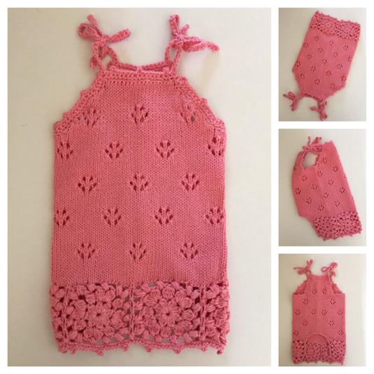 #手編み  裾モチーフのキャミソール(ピンクラメ入り)