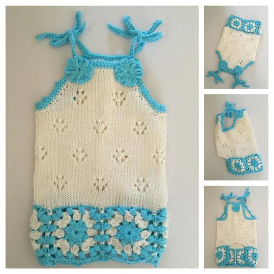#手編み 裾お花モチーフのキャミソール(ターコイズブルー)
