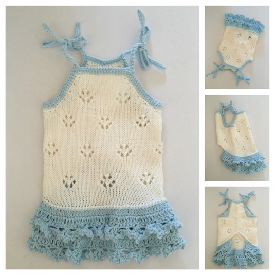 #手編み 水色配色のキャミソール(胴回り30センチ)