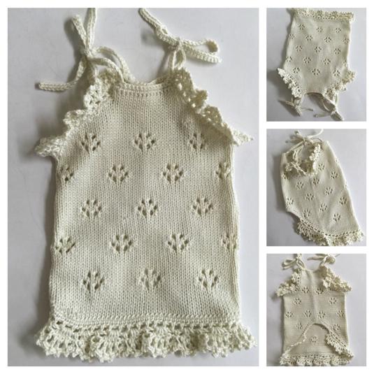 #手編み  キャミソール(生成り)胴回り35センチ