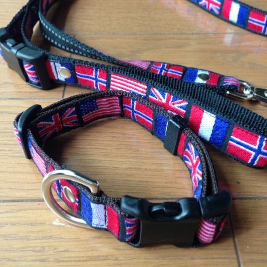 国旗柄   中型犬用 リード 首輪セット( m様オーダー品)
