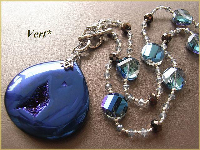 Vert* ドゥルージーアゲート(ブルー染)付替えマロントップグリフィンショートネックレス