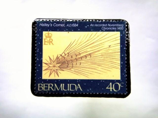 バミューダ諸島 ハレー彗星切手ブローチ 049
