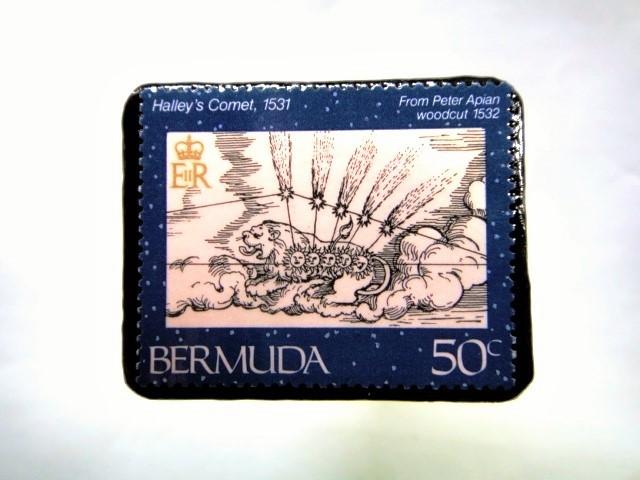 バミューダ諸島 ハレー彗星切手ブローチ 050