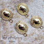 6pcs)simple gold oval pierced