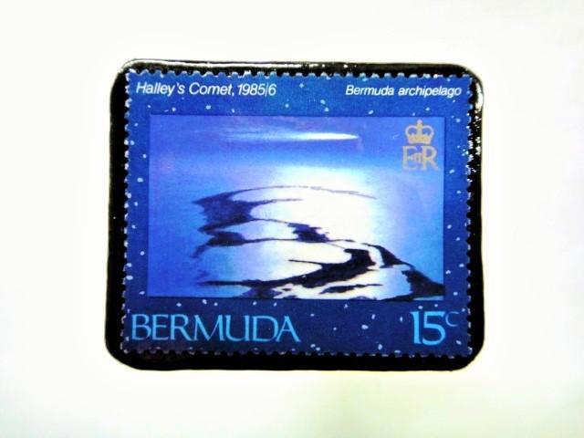 バミューダ諸島 ハレー彗星切手ブローチ 051