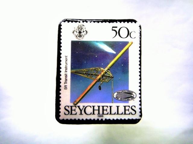 セイシェル諸島 ハレー彗星切手ブローチ 058