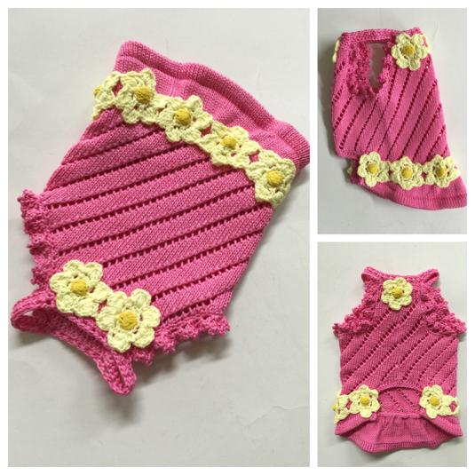 #手編み お花モチーフ付きワンピース(胴回り30?)